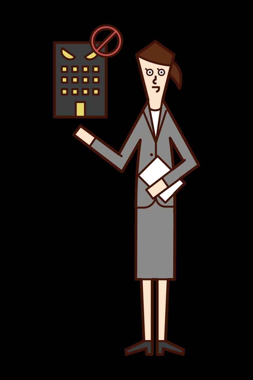 労働基準監督官(女性)のイラスト