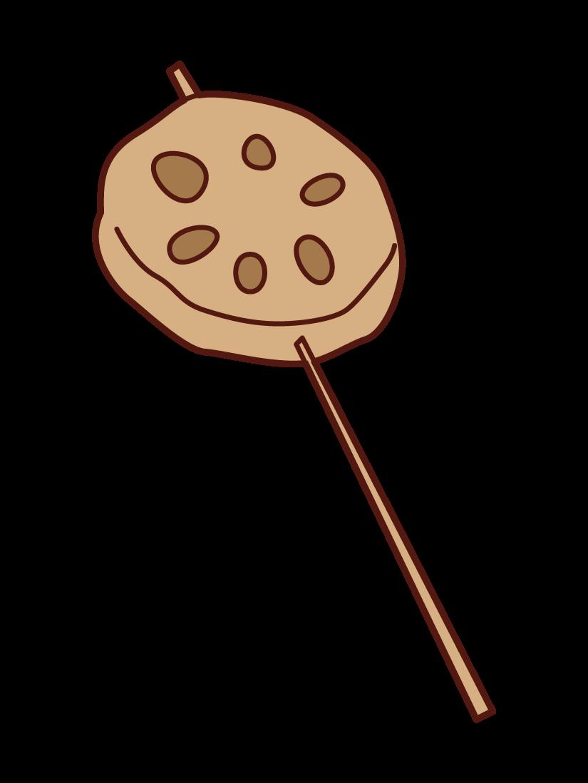 レンコンの串カツのイラスト