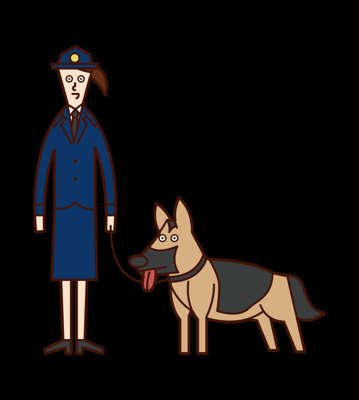 麻薬取締官と警察犬(女性)のイラスト
