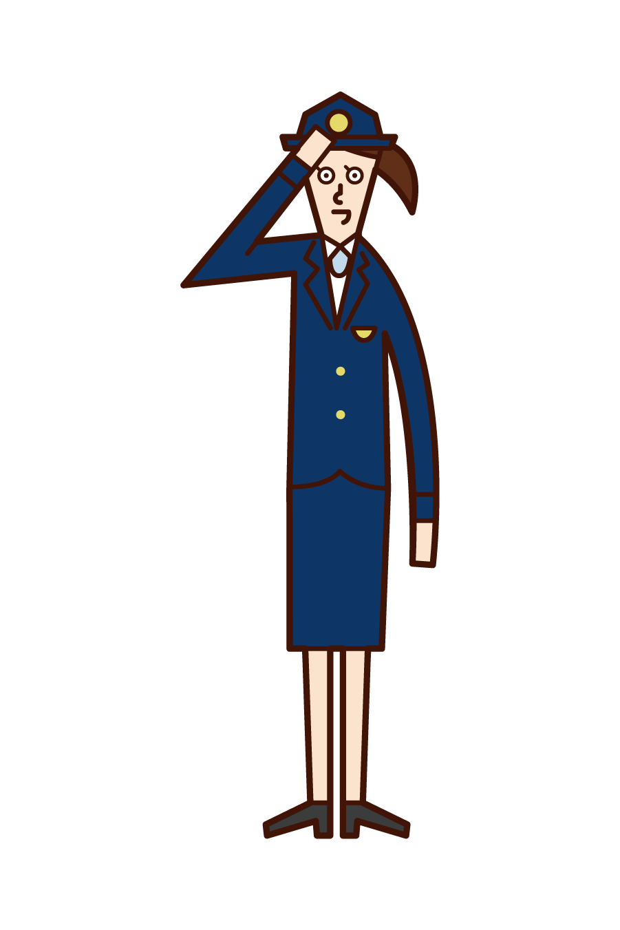Illustration of an immigration security officer (woman)