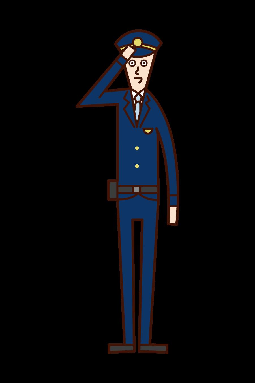 入国警備官(男性)のイラスト