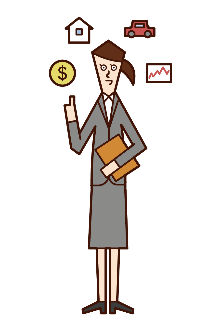 Illustration of financial planner (female)