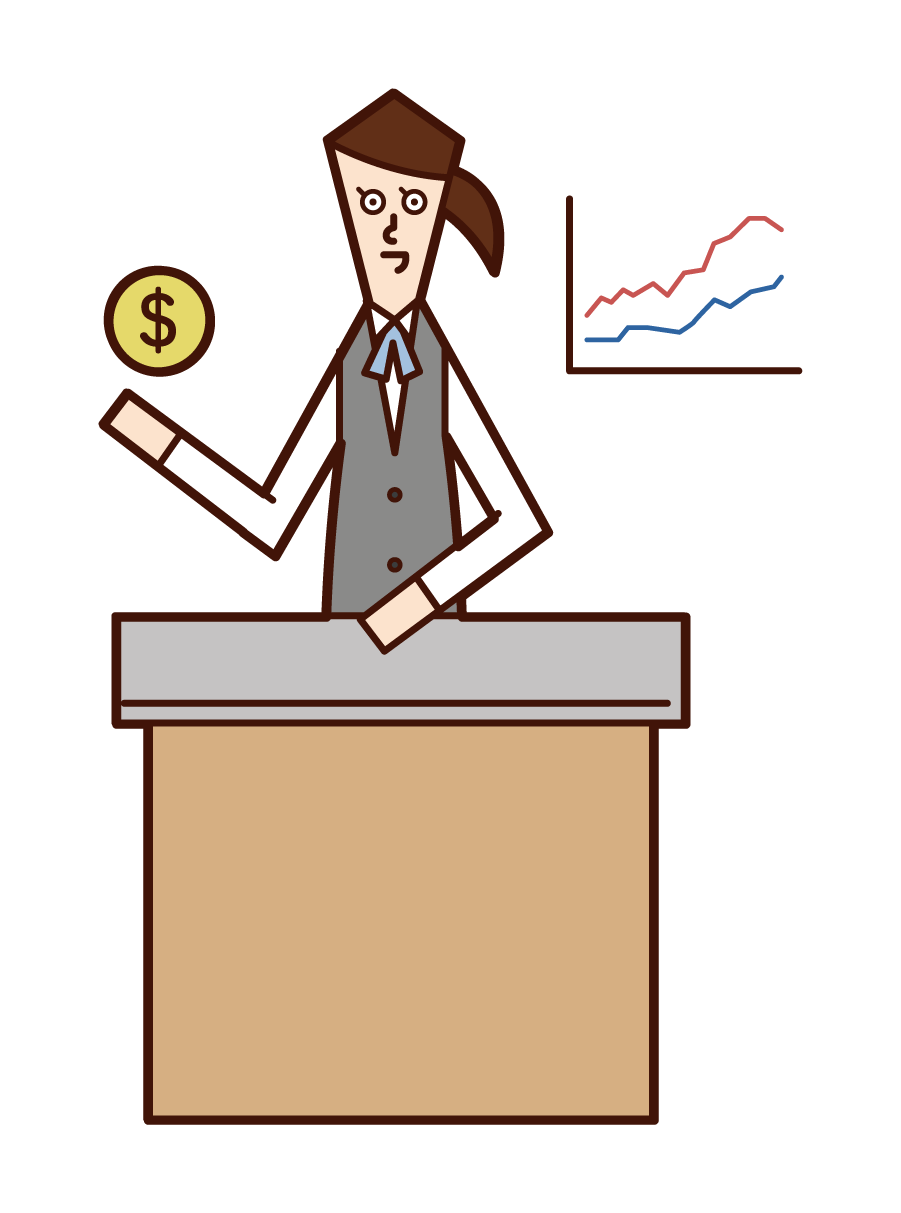 Illustration of securities analyst and fund manager trader (woman)