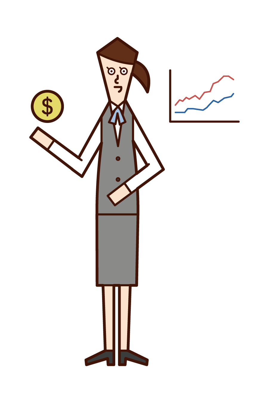 Illustration of securities analyst, fund manager, and securities firm (woman)