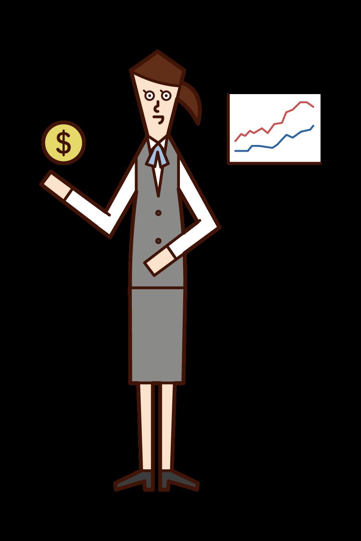 証券アナリスト・ファンドマネジャー・証券会社(女性)のイラスト