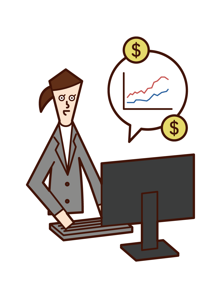 Illustration of Day Trader (Female)