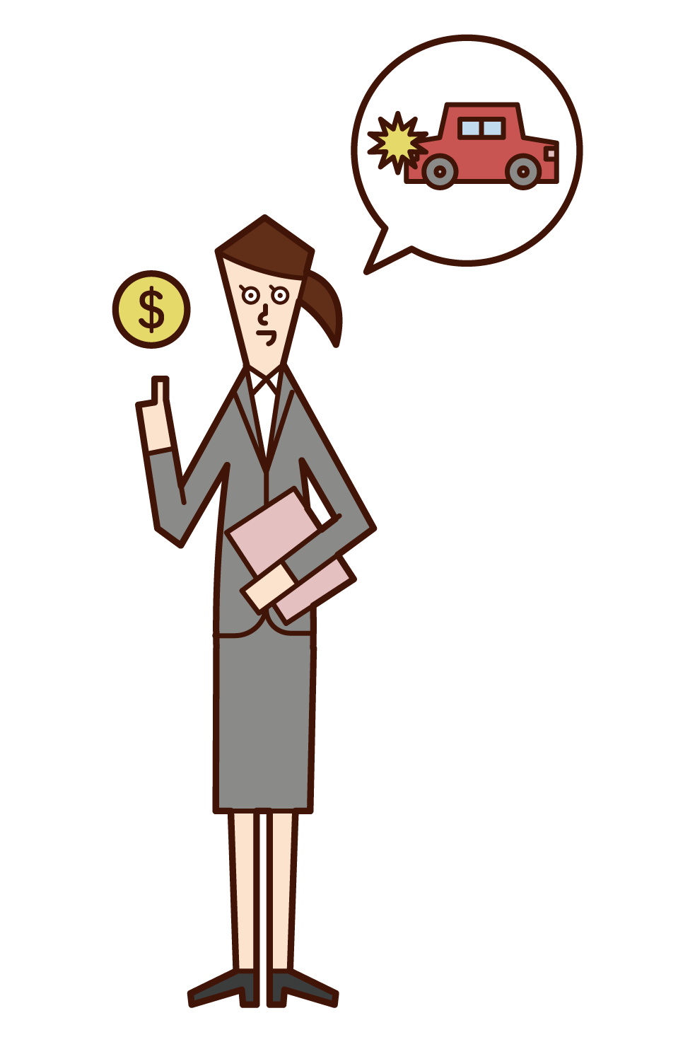 Illustration of non-life insurance company employee, insurance diplomat, life insurance company employee (woman)