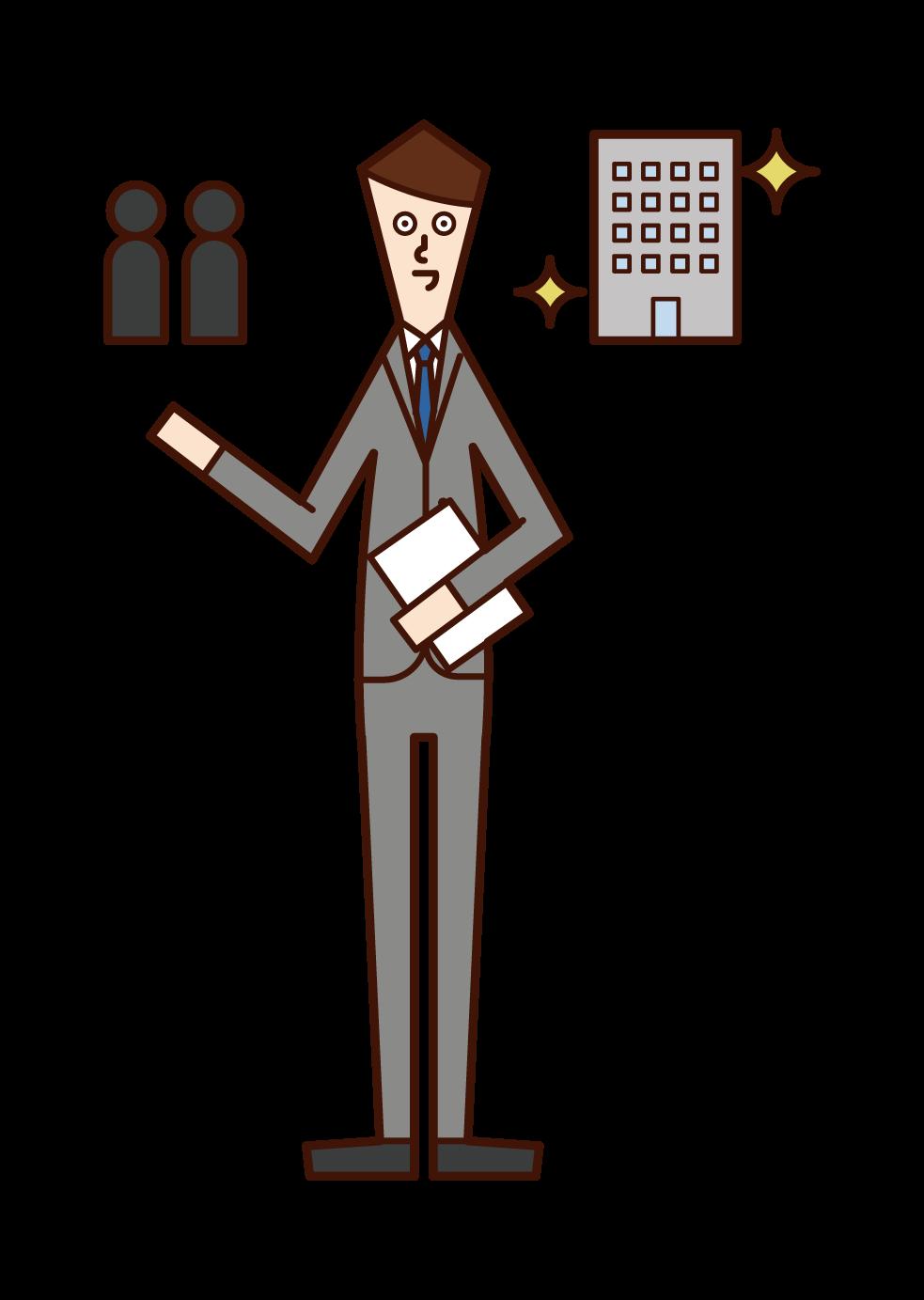 인적 자원 컨설턴트 및 인적 자원 코디네이터의 일러스트 (남성)