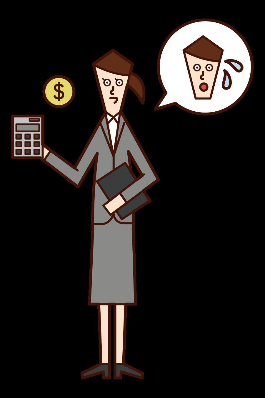 税務署の職員(女性)のイラスト
