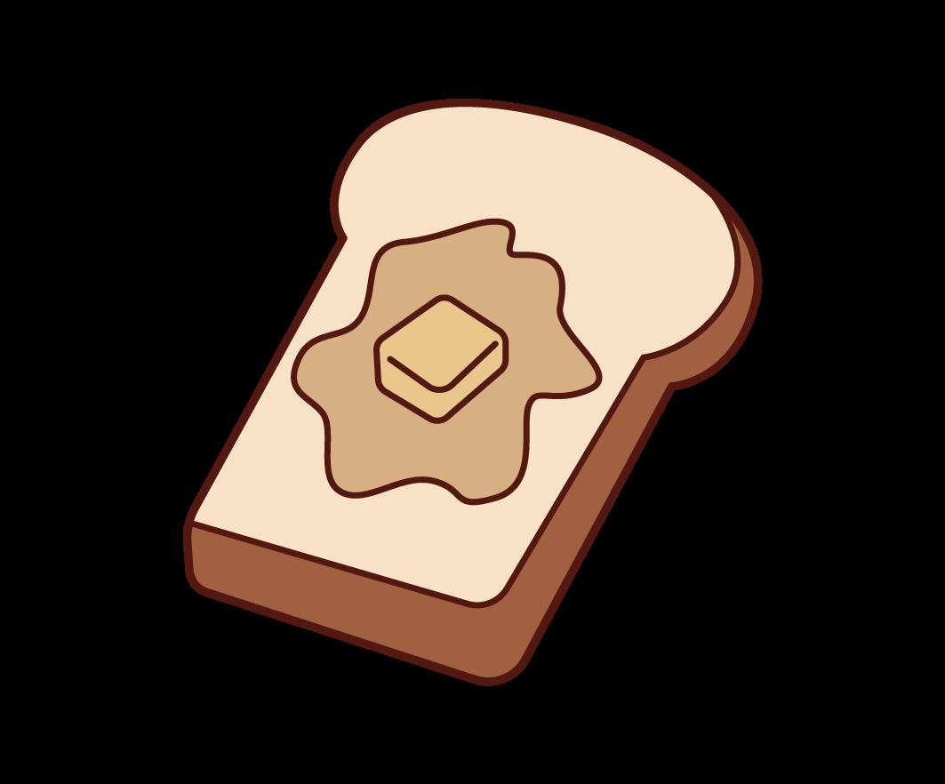 バターがのったパンのイラスト