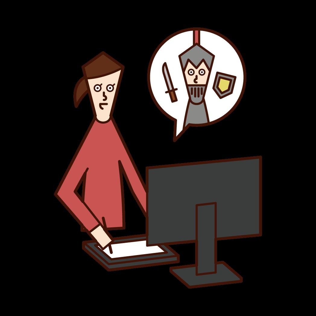 ゲームクリエイター・ゲームデザイナー(女性)のイラスト