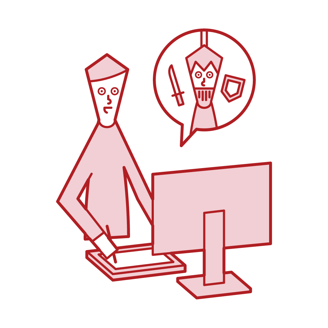 ゲームクリエイター・ゲームデザイナー(男性)のイラスト