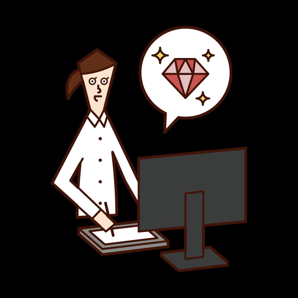 Illustration of a jewelry designer (woman)