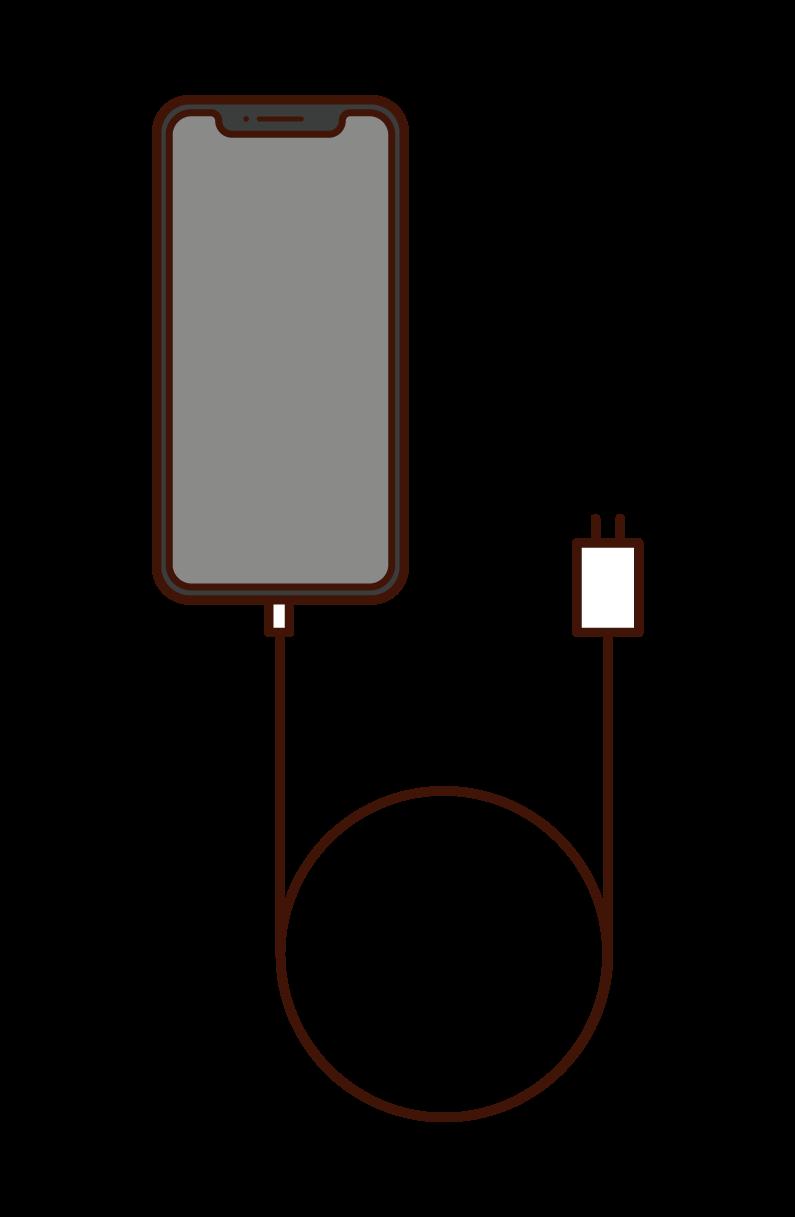 スマートフォンと充電ケーブルのイラスト
