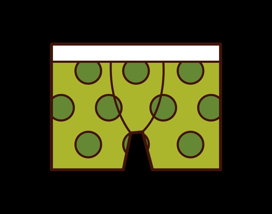 Illustration of men's underwear, trunks and boxer shorts