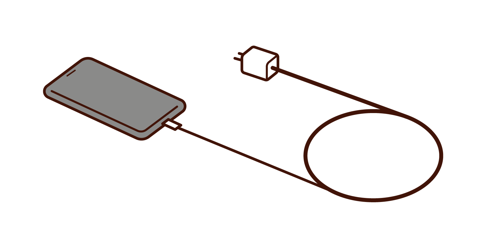 Illustration of smartphone and charging cable