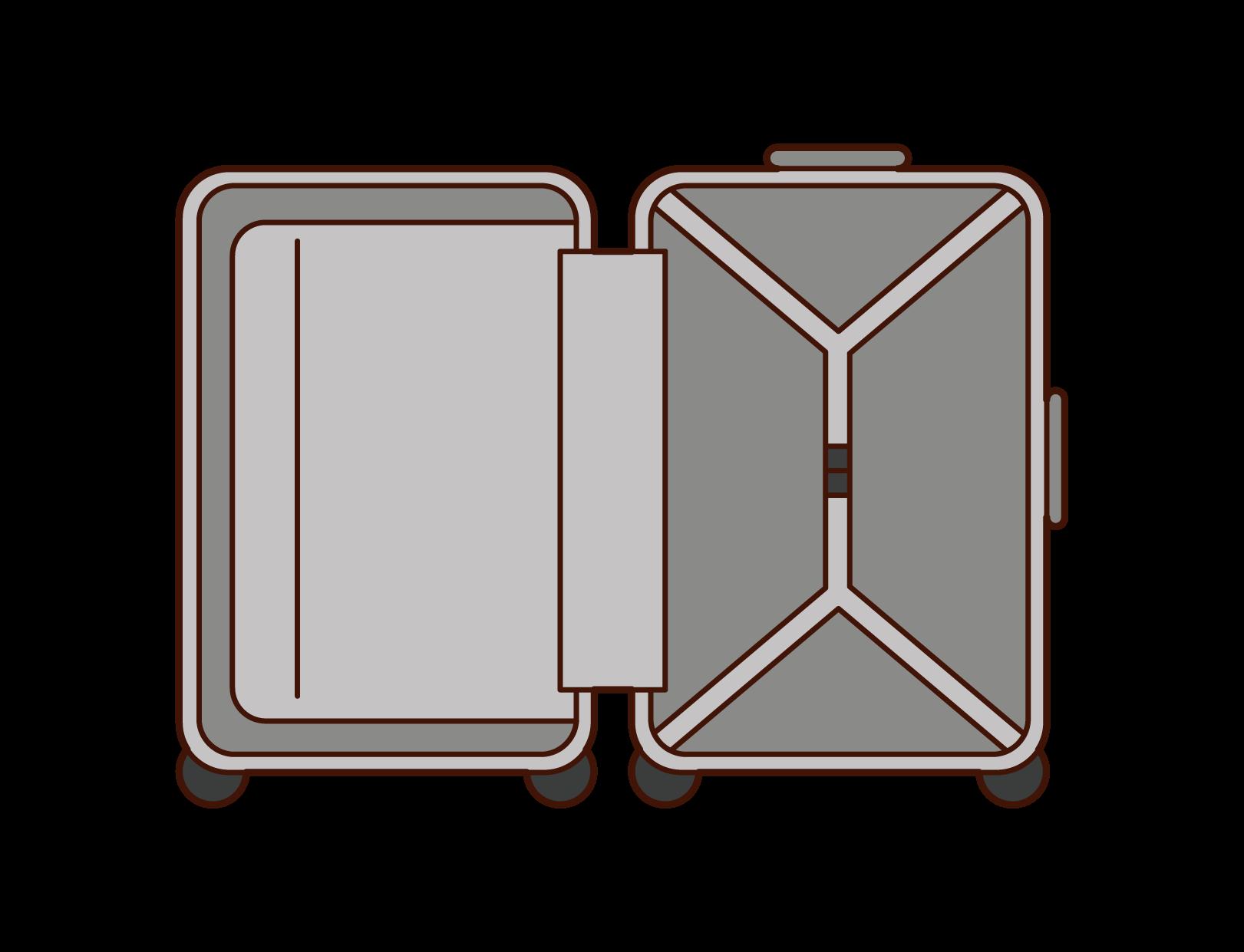 スーツケース・キャリーケースの内側のイラスト