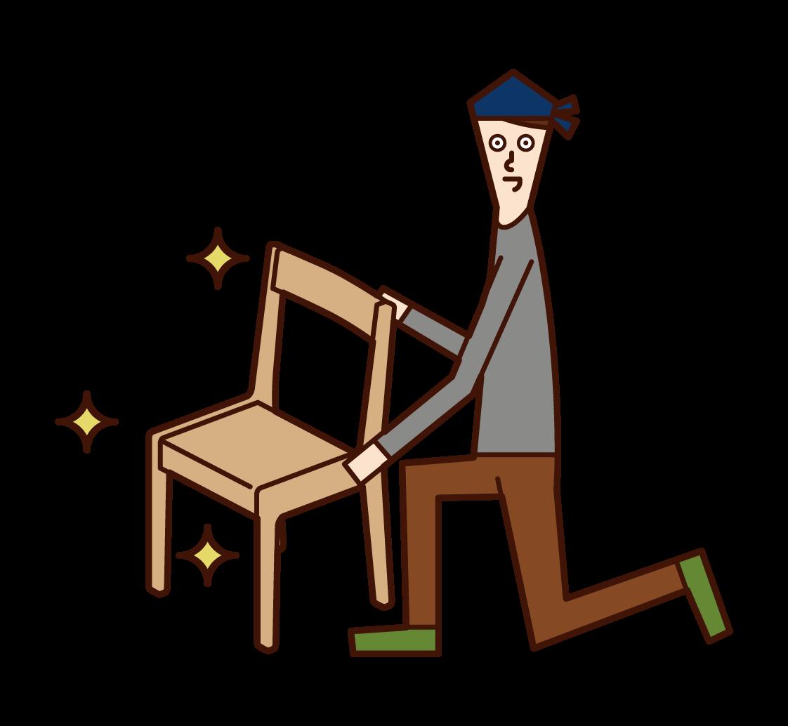 家具職人(男)のイラスト
