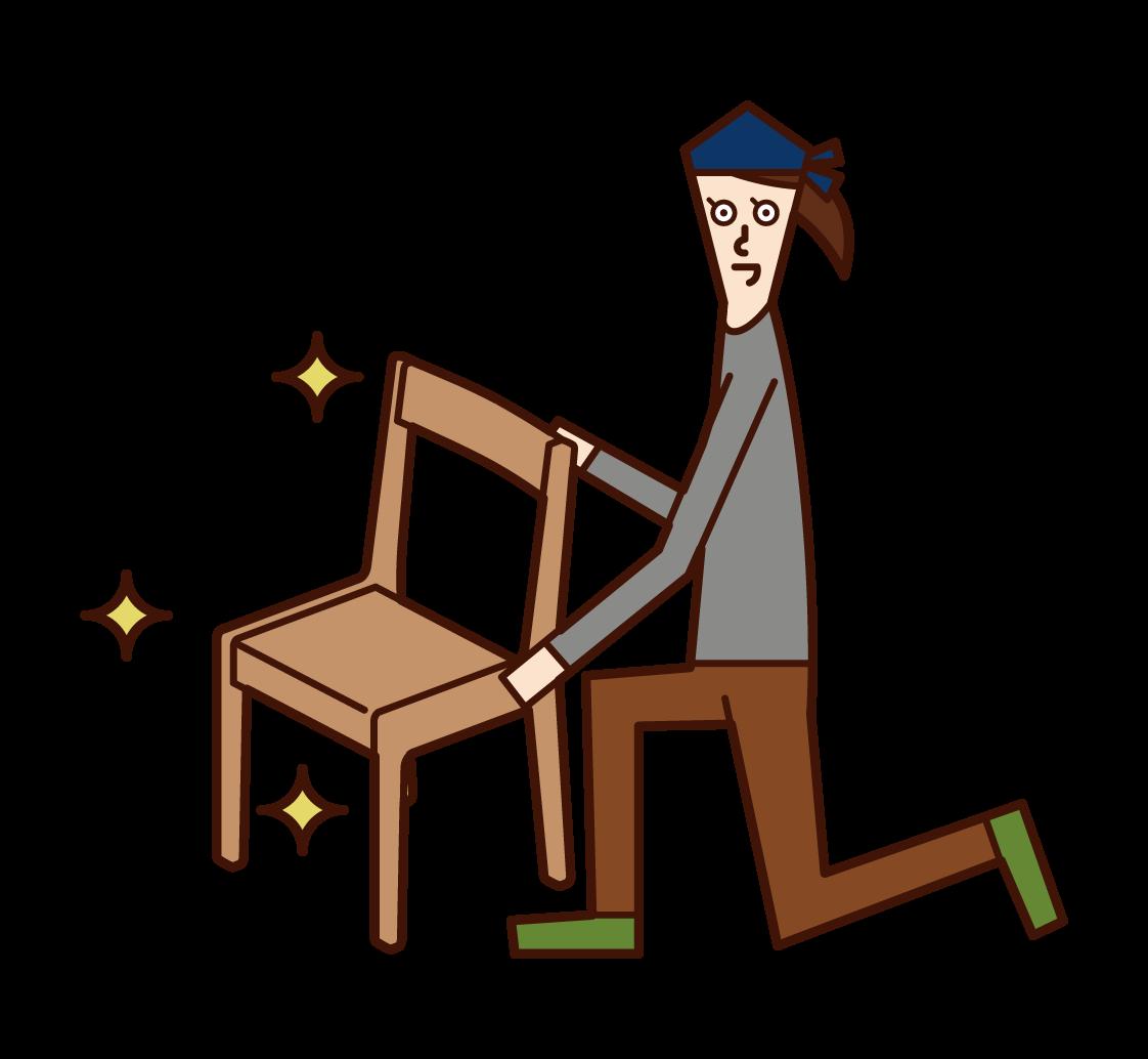 家具職人(女性)のイラスト