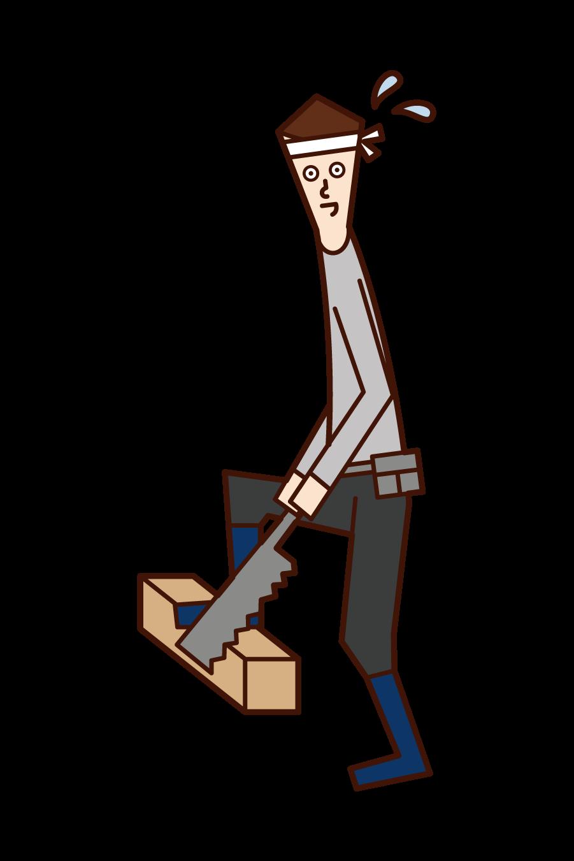 木材を切る大工(男性)のイラスト