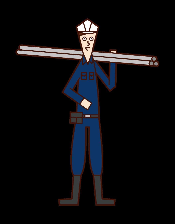 鳶職人(男性)のイラスト
