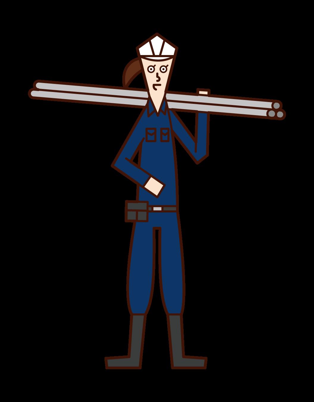 鳶職人(女性)のイラスト