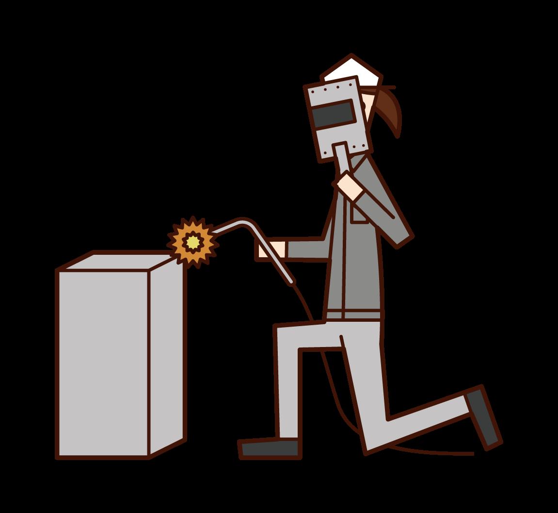 Illustration of a welder (woman)