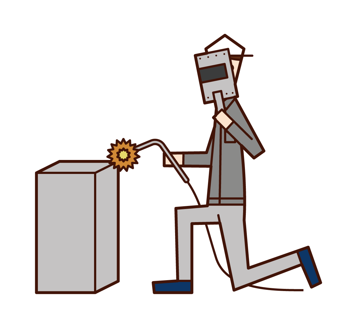 溶接工(男性)のイラスト