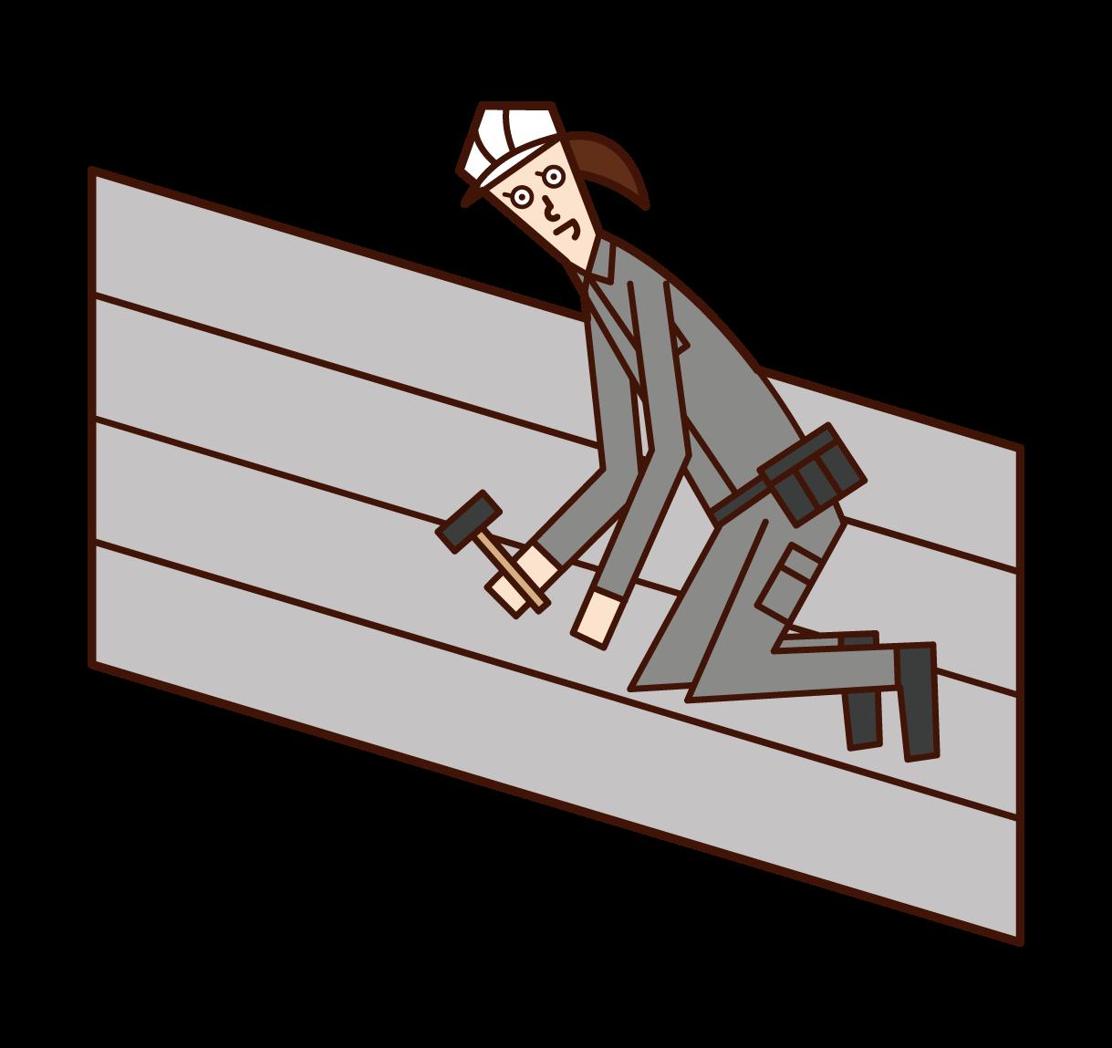 建築板金工(女性)のイラスト