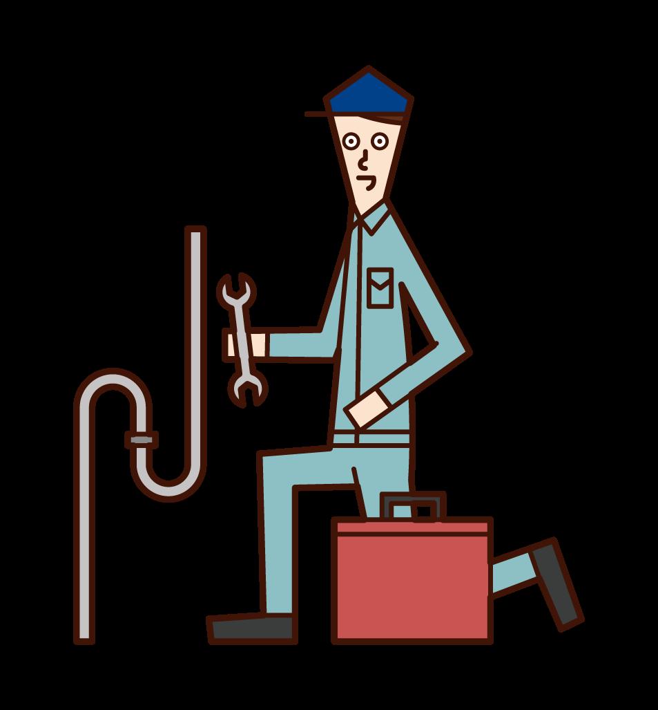 配管工(男性)のイラスト