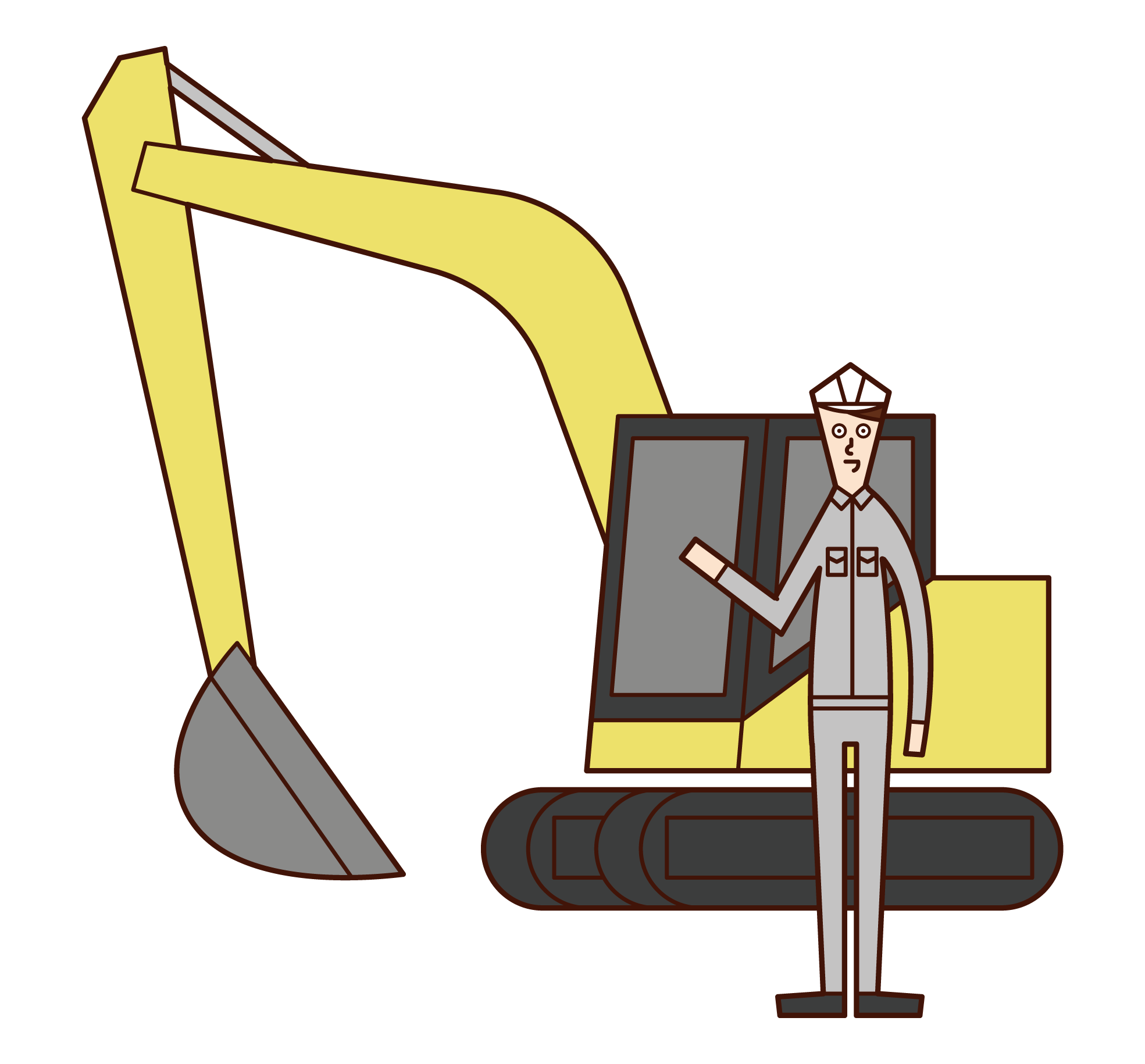 重機オペレーター(男性)のイラスト