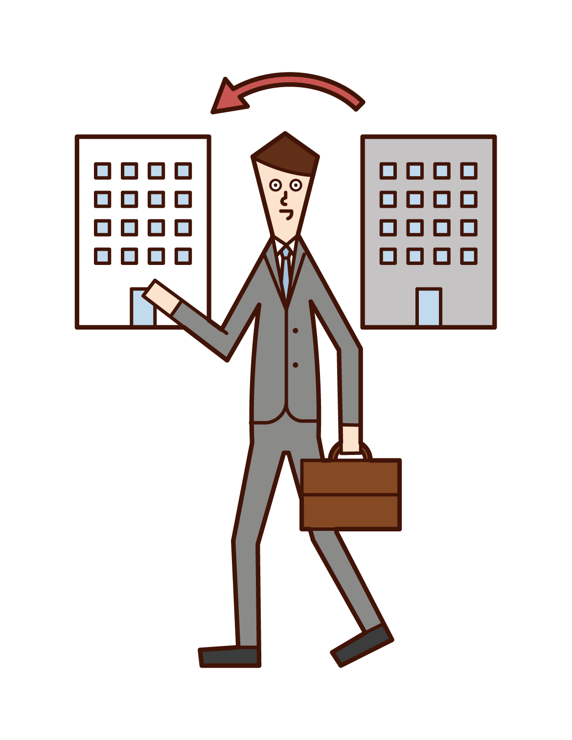 Illustration of a temporary staffing company and a man who changes jobs