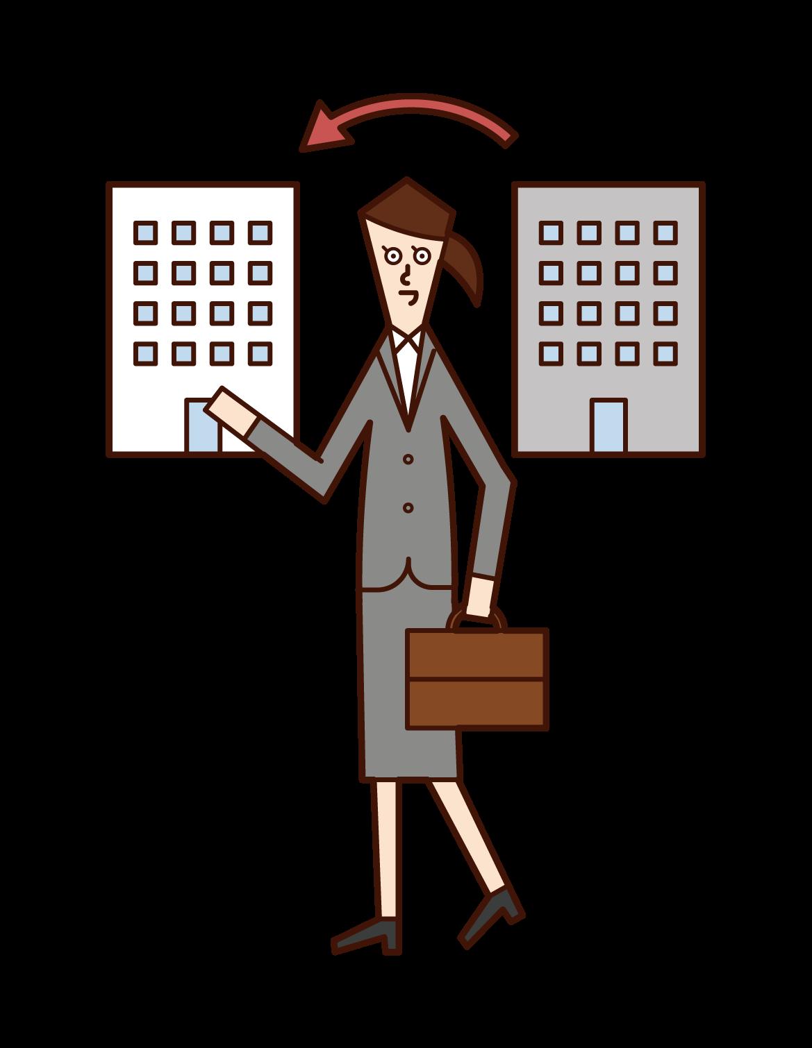 人材派遣会社・転職する人(女性)のイラスト