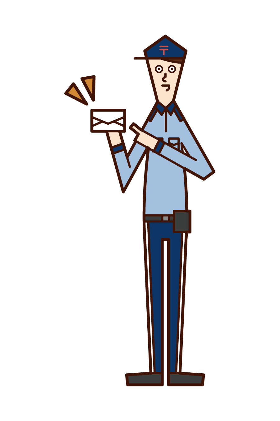Illustration of a Japanese postman (male)