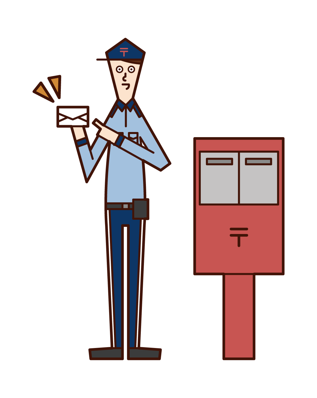 Illustration of a postman standing next to a postoffice