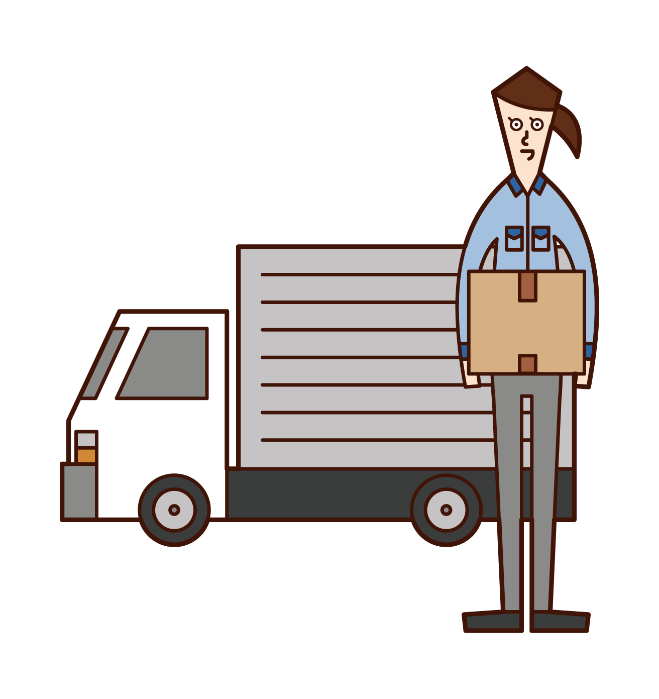 Illustration of a truck driver and a logistics company employee (woman)