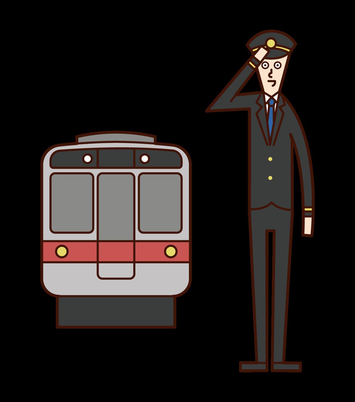 車掌・鉄道会社社員(男性)のイラスト