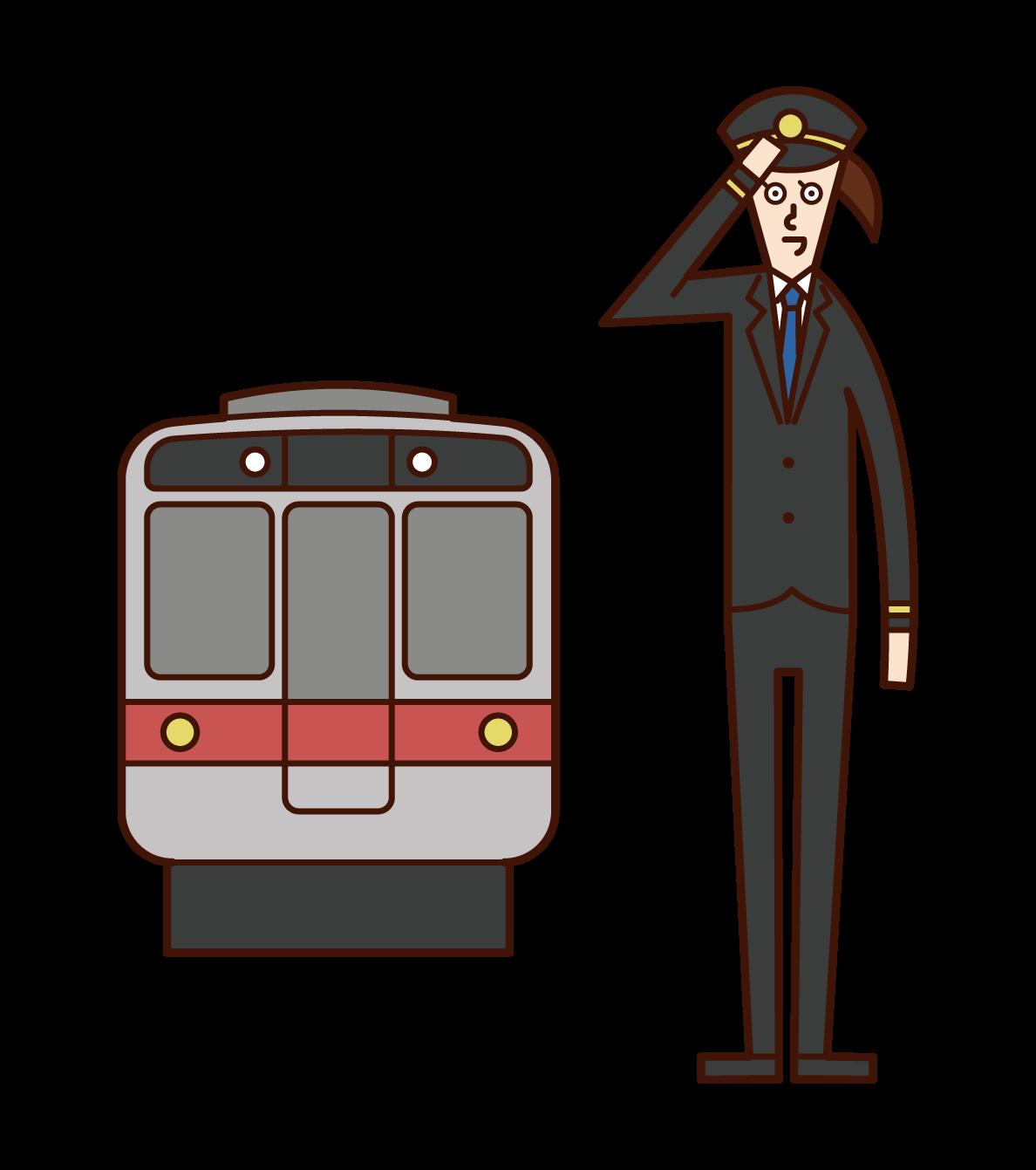 車掌・鉄道会社社員(女性)のイラスト