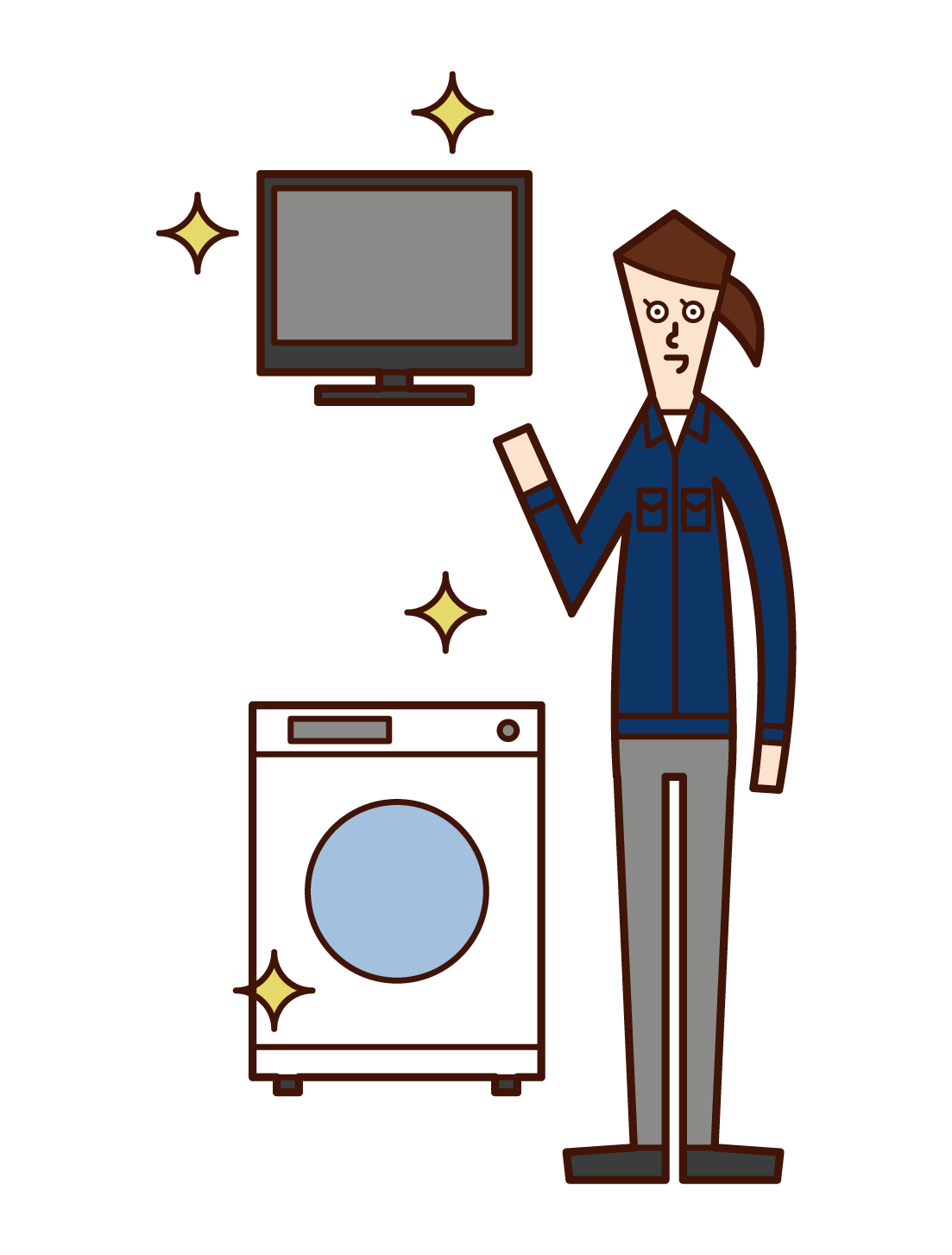Illustration of an employee (woman) of a home appliance manufacturer