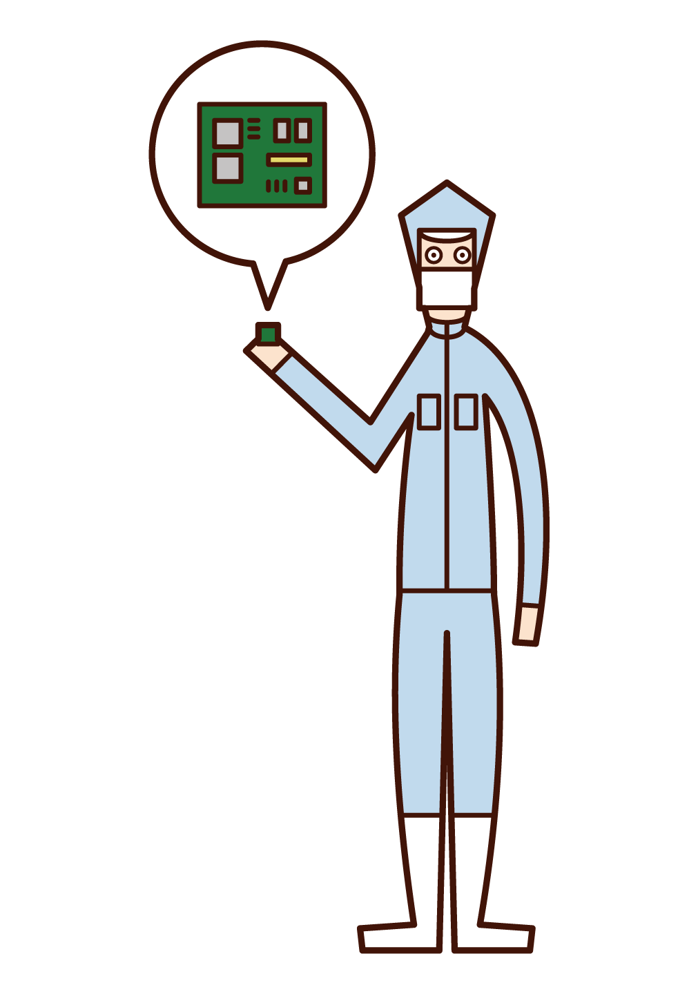 Illustration of an employee (man) of a precision equipment manufacturer