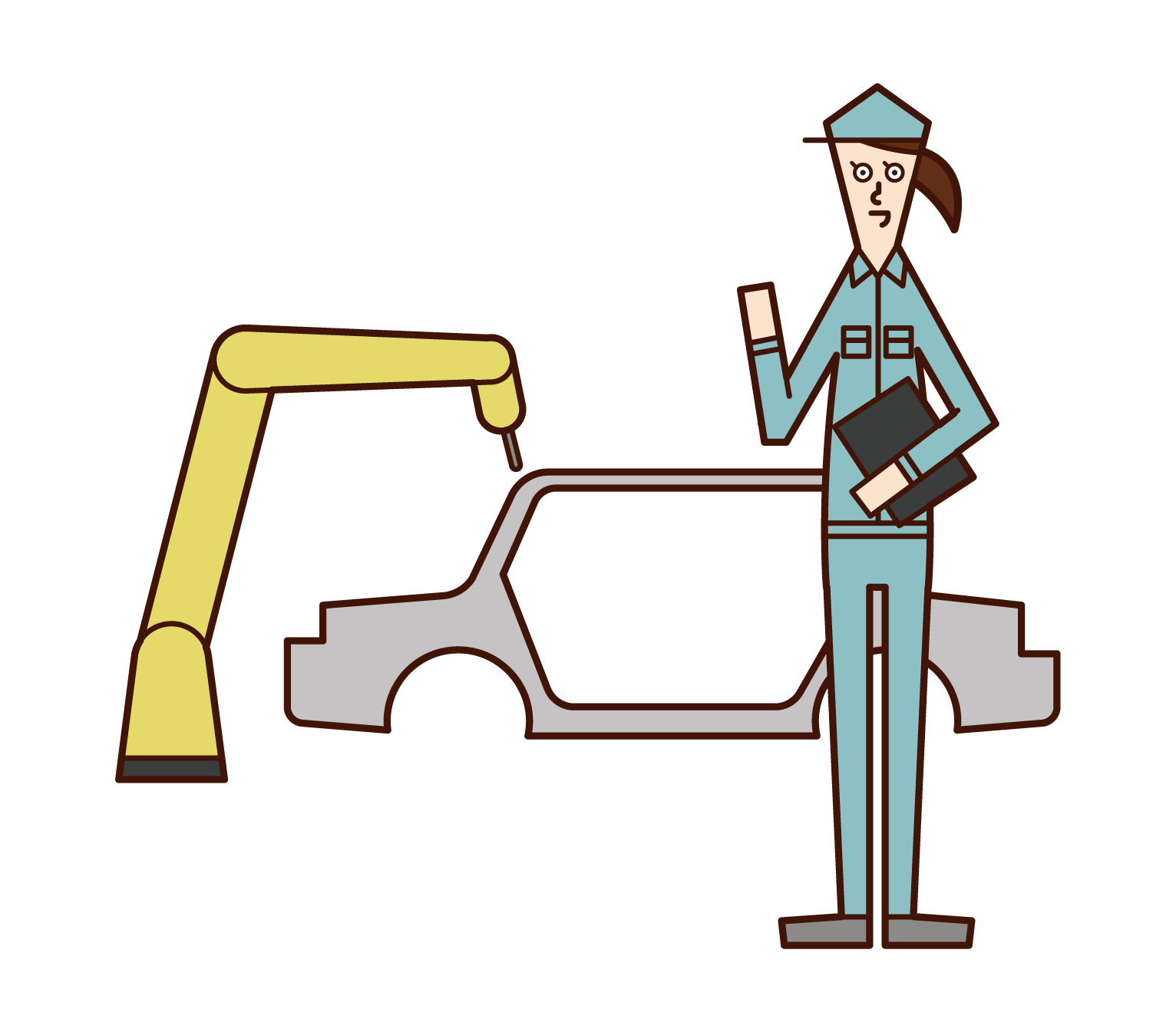 Illustration of employees of automobile manufacturers (women)