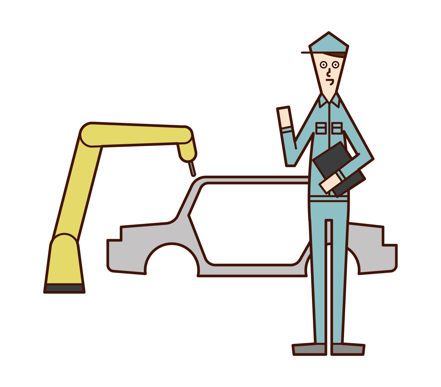 Illustration of an employee of an automobile manufacturer (man)