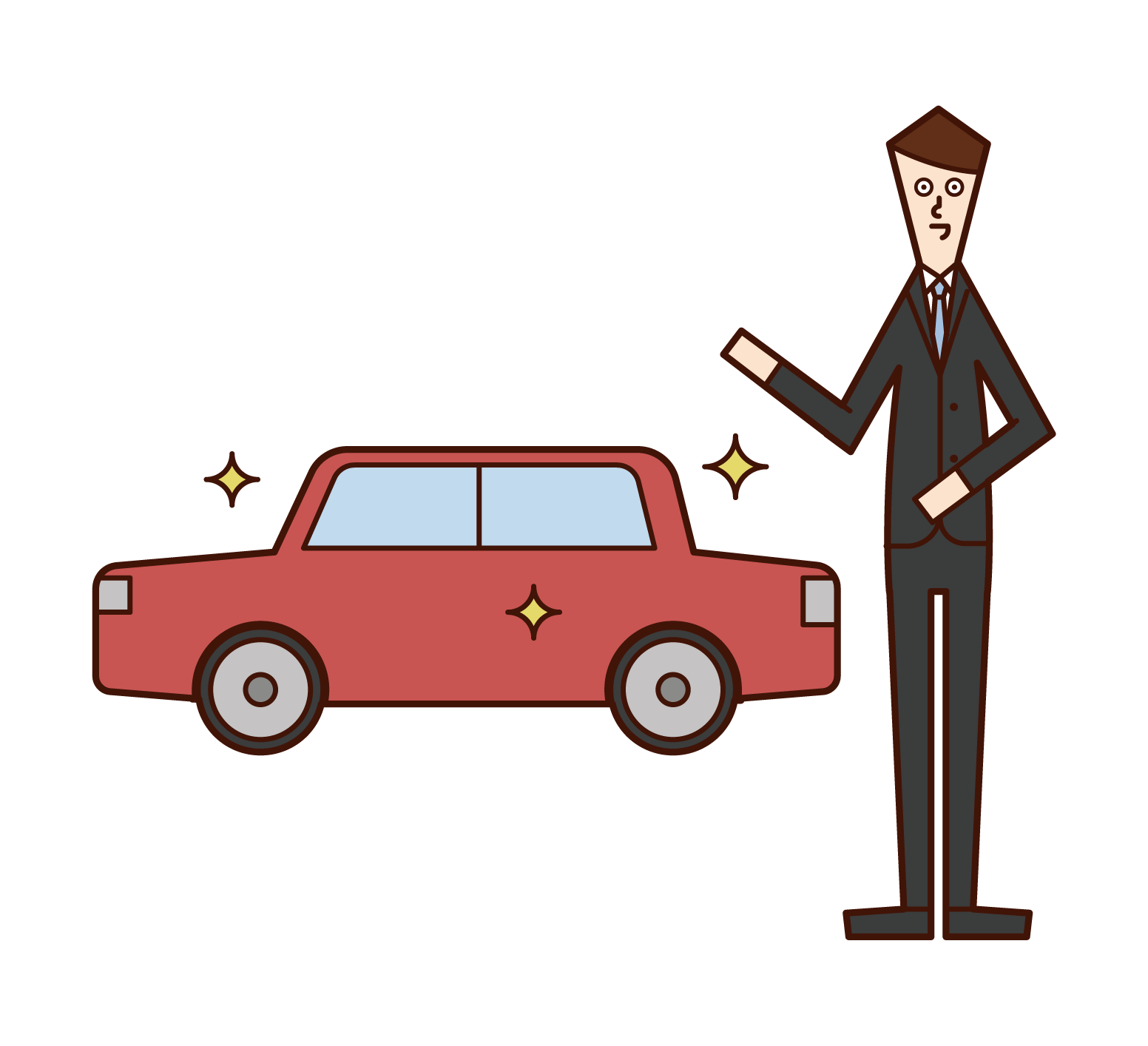 Illustration of an employee of an automobile dealer (man)