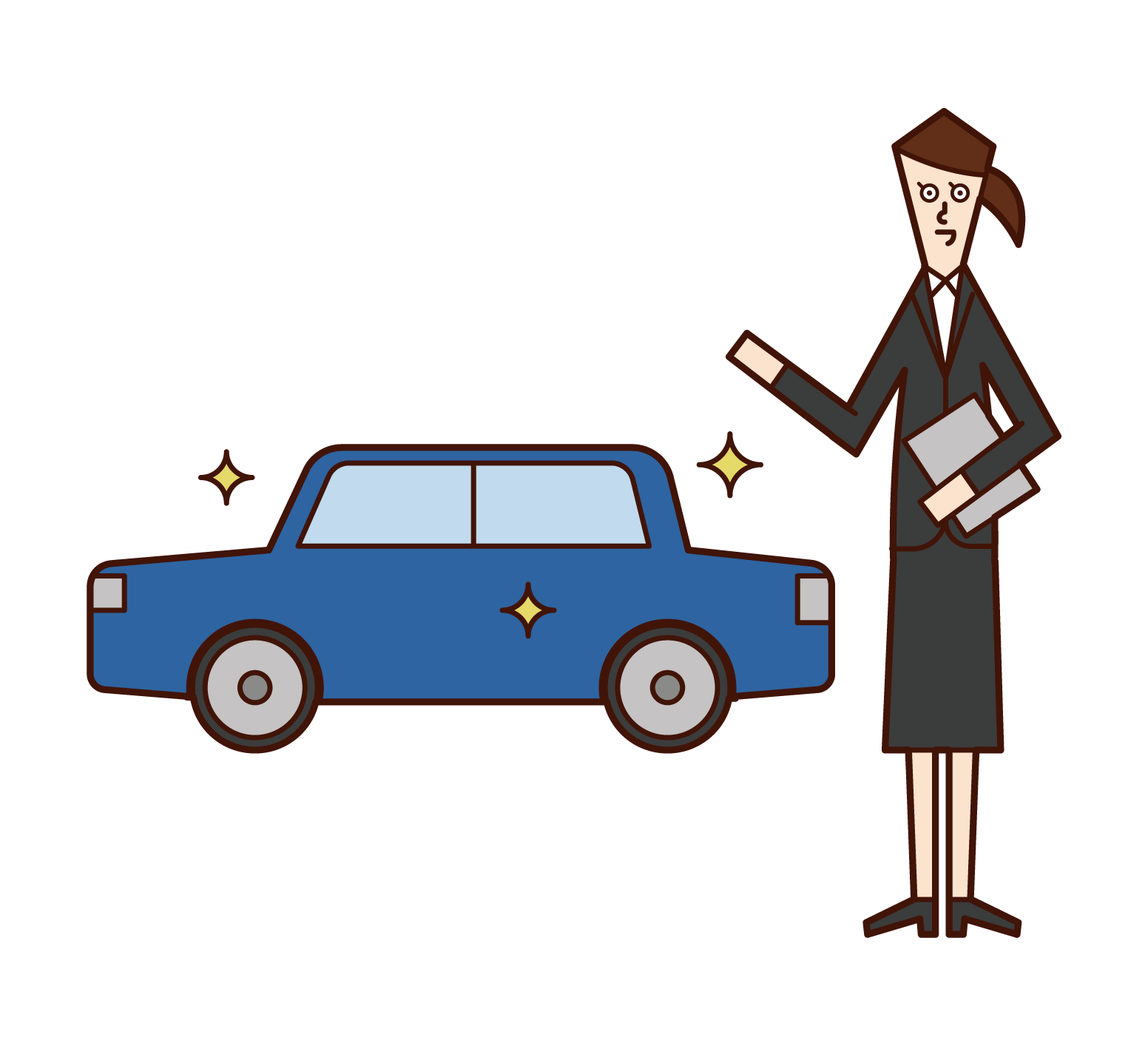 Illustration of an employee of an automobile dealer (woman)