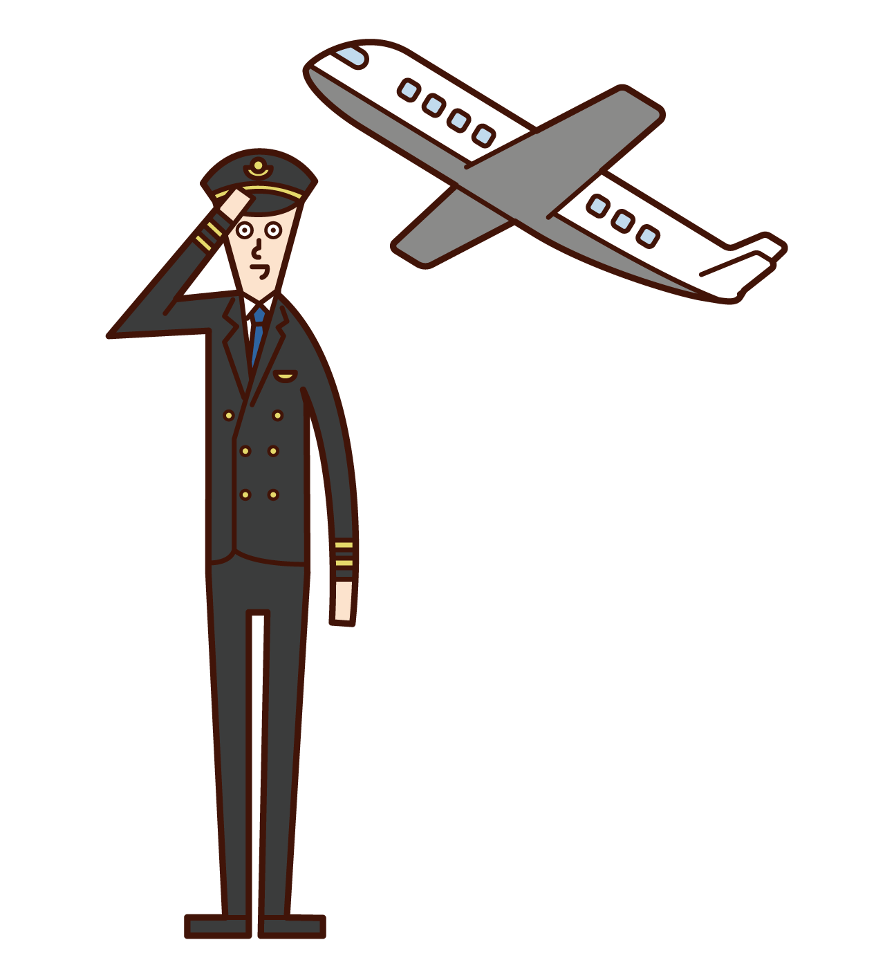 飛行機のパイロット(男性)のイラスト