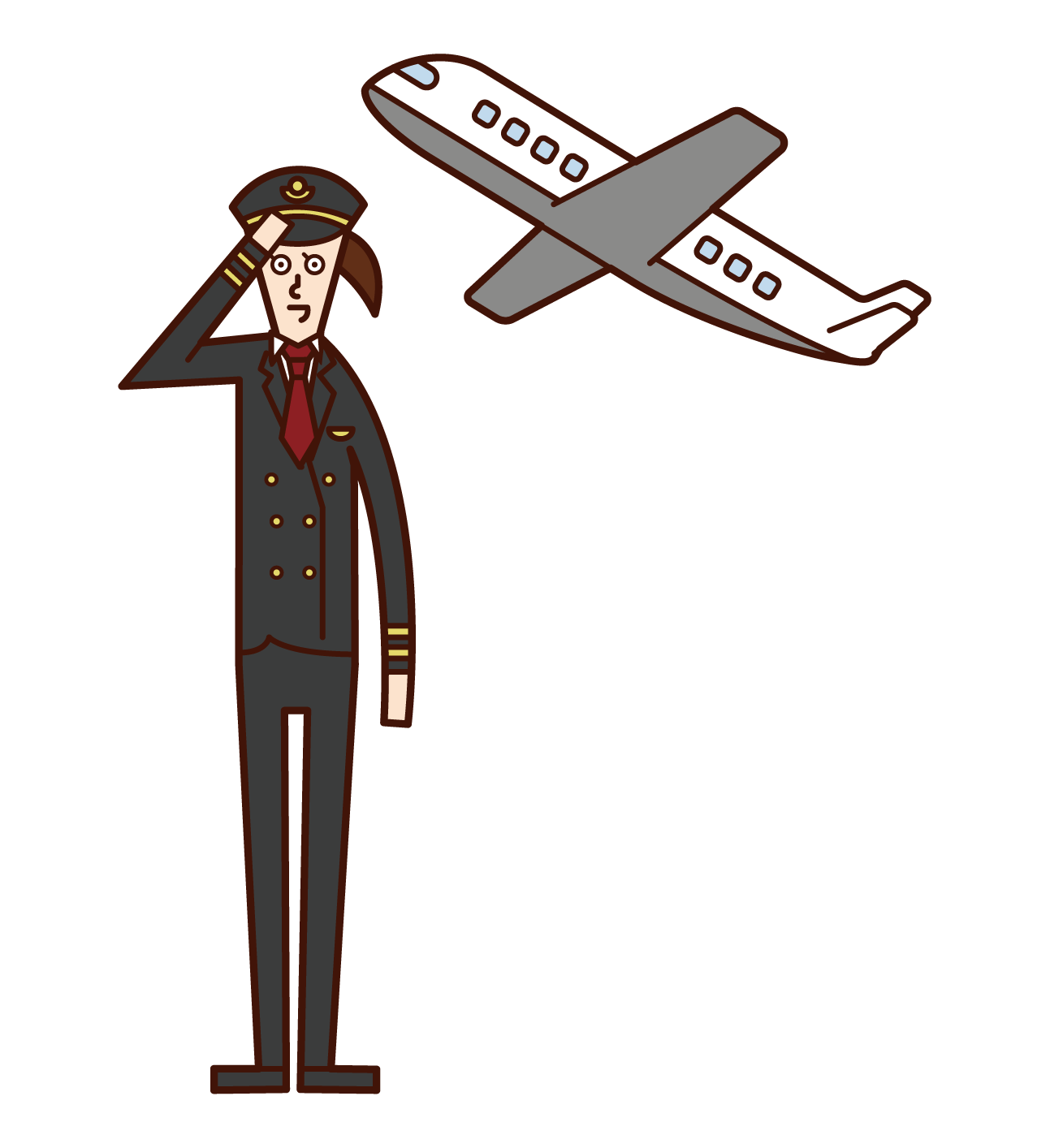 Illustration of a pilot of an airplane (woman)