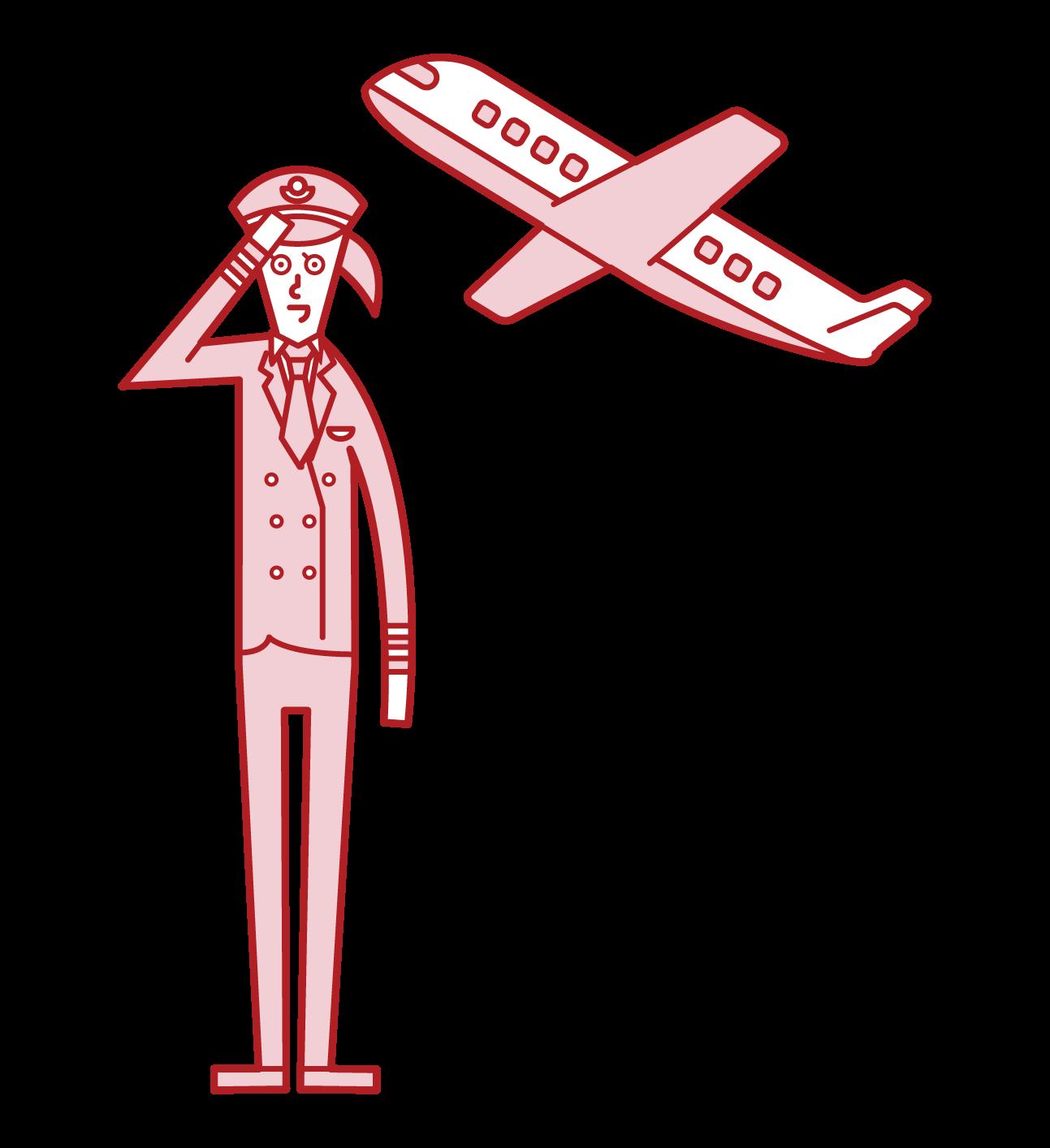 飛行機のパイロット(女性)のイラスト