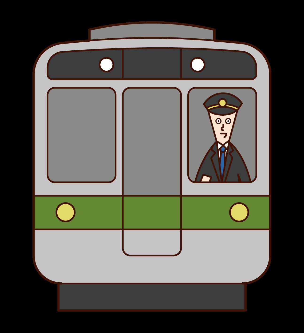 電車の運転士(男性)のイラスト