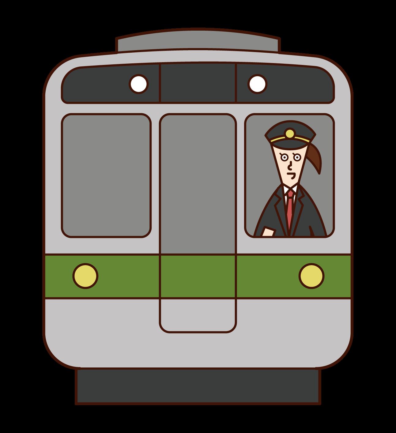 電車の運転士(女性)のイラスト