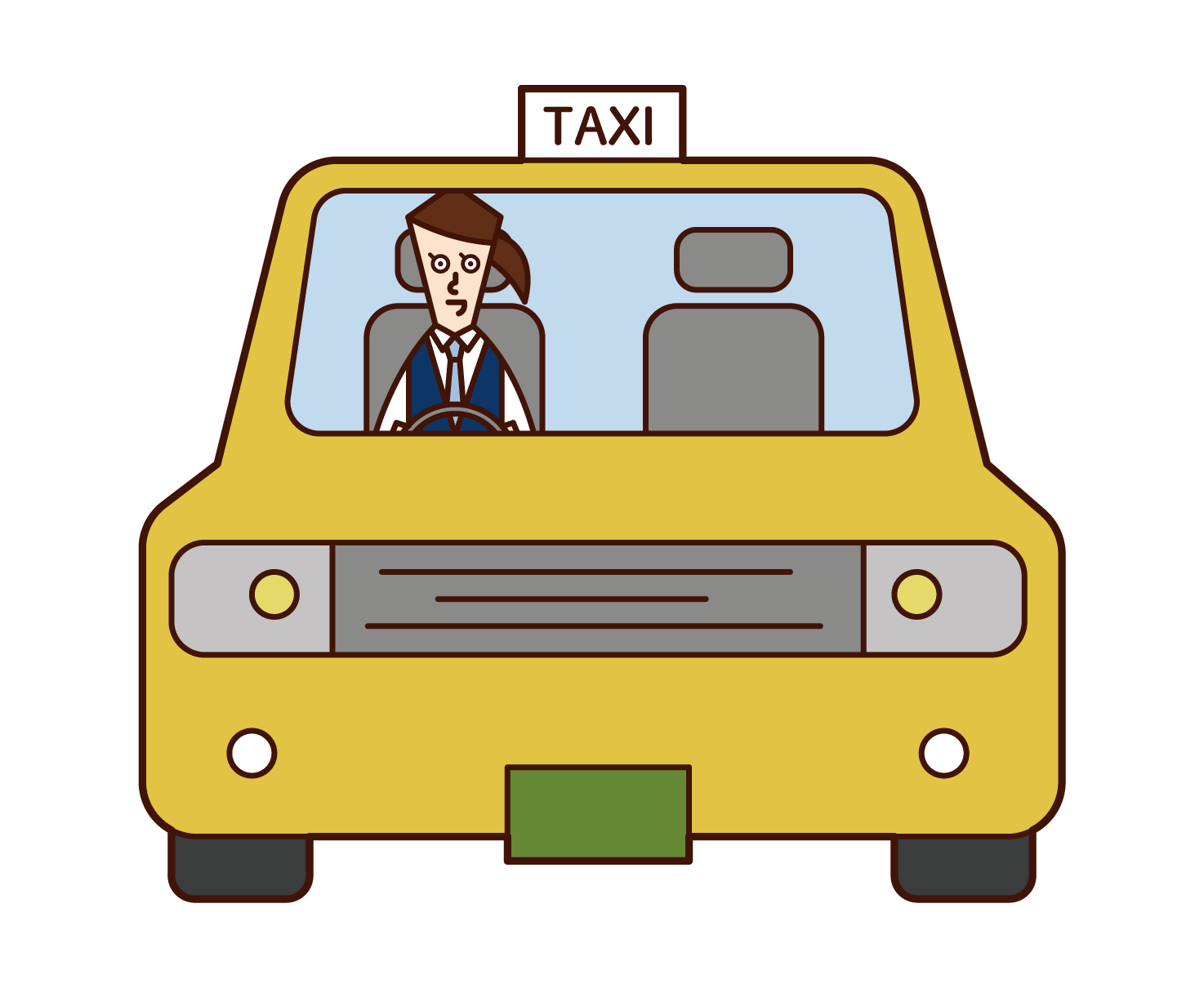 Illustration of a taxi driver (woman)